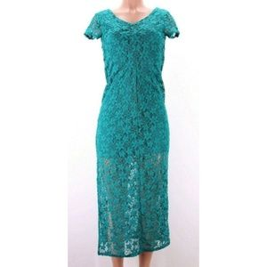 Xhilaration Womens Dress Midi Long Green Eyelet